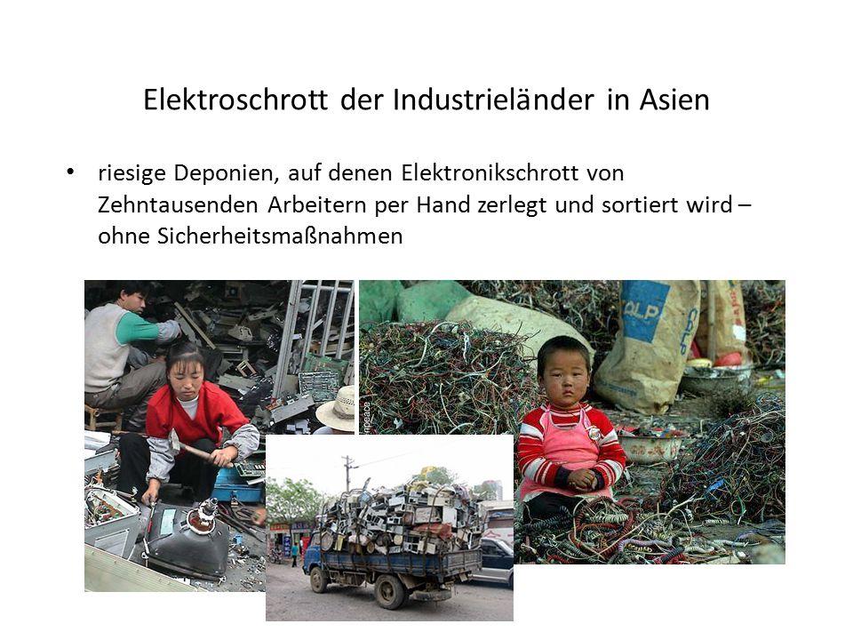 Elektroschrott der Industrieländer in Asien riesige Deponien, auf denen Elektronikschrott von Zehntausenden Arbeitern per Hand zerlegt und sortiert wi