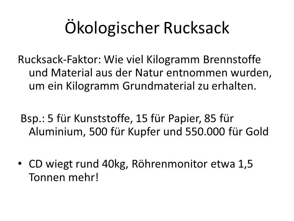 Ökologischer Rucksack Rucksack-Faktor: Wie viel Kilogramm Brennstoffe und Material aus der Natur entnommen wurden, um ein Kilogramm Grundmaterial zu e