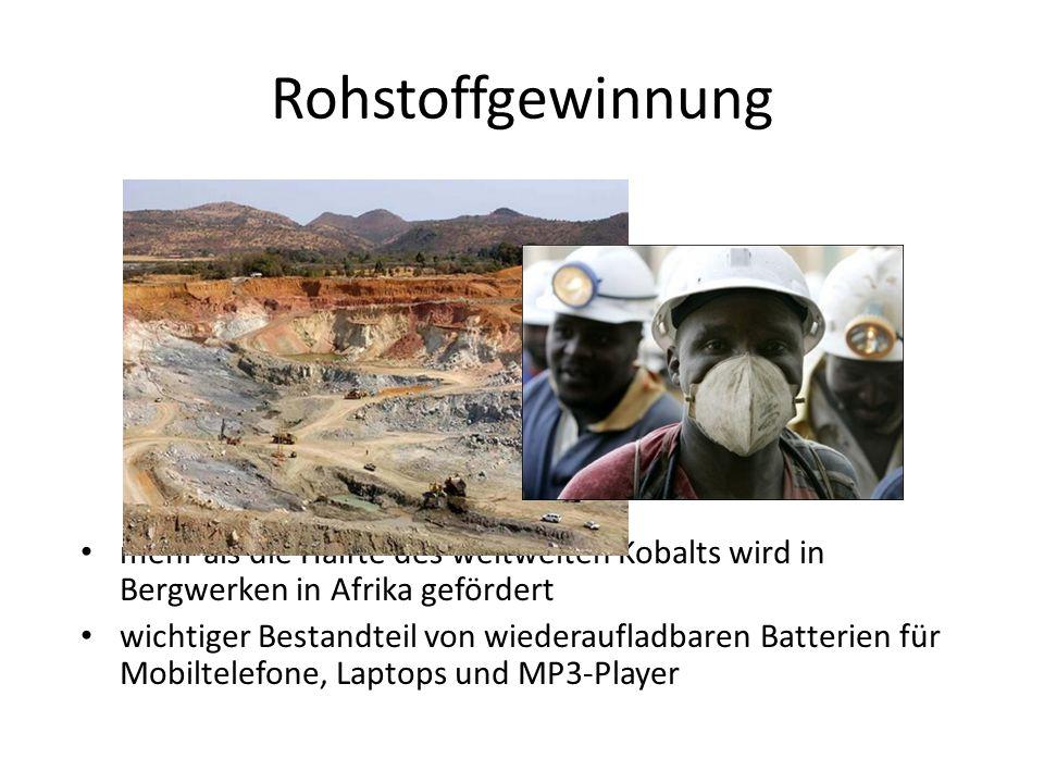 Rohstoffgewinnung mehr als die Hälfte des weltweiten Kobalts wird in Bergwerken in Afrika gefördert wichtiger Bestandteil von wiederaufladbaren Batter