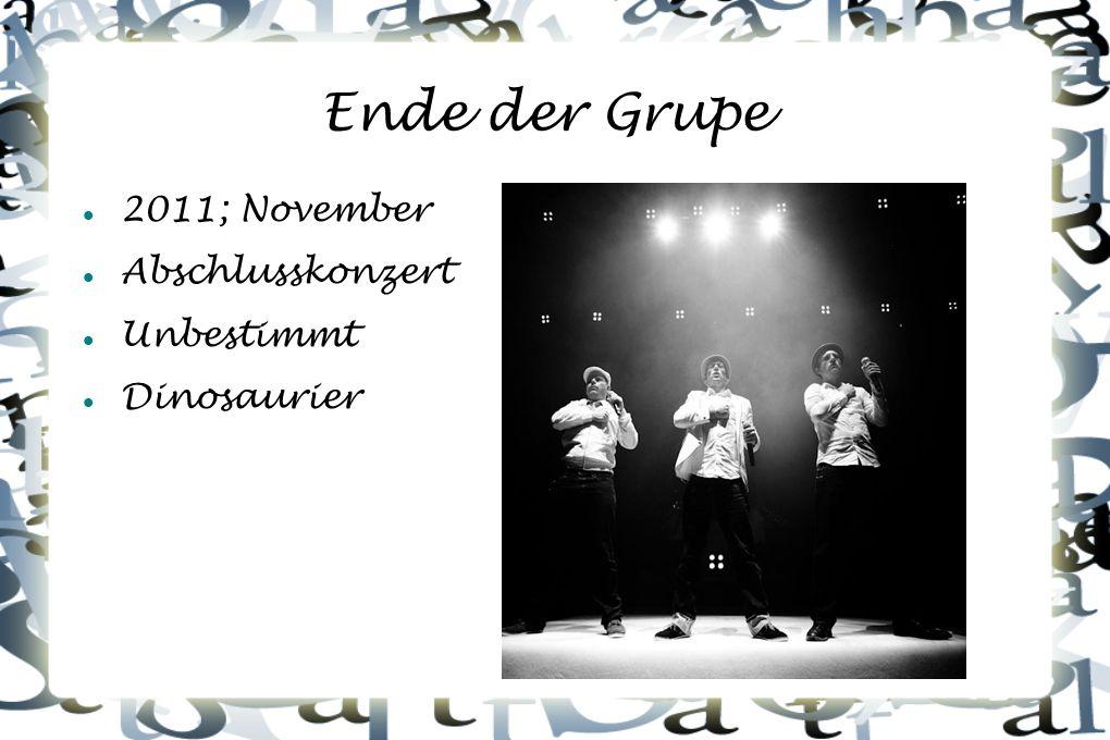 Ende der Grupe 2011; November Abschlusskonzert Unbestimmt Dinosaurier