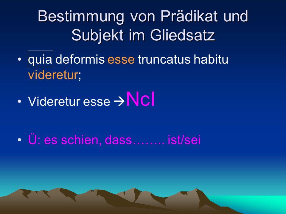 Bestimmung von Prädikat und Subjekt im Gliedsatz quia deformis esse truncatus habitu videretur; Videretur esse  NcI Ü: es schien, dass……..
