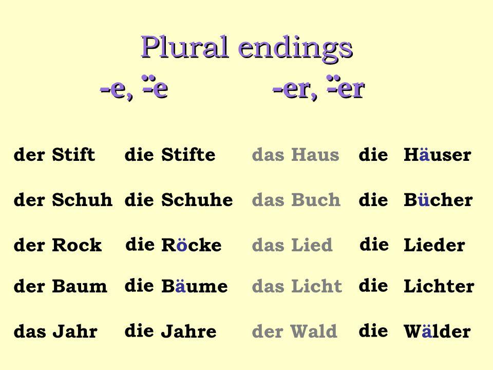 Plural endings -e, -e..
