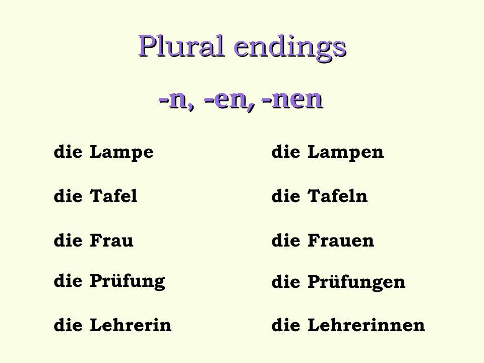 Plural endings -n, -en, -nen die Lampe die Tafel die Frau die Prüfung die Lehrerindie Lehrerinnen die Lampen die Tafeln die Frauen die Prüfungen