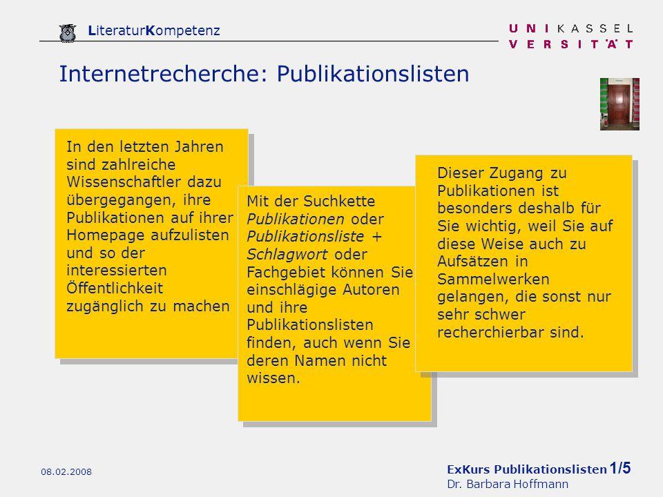 ExKurs Publikationslisten 1/5 Dr.