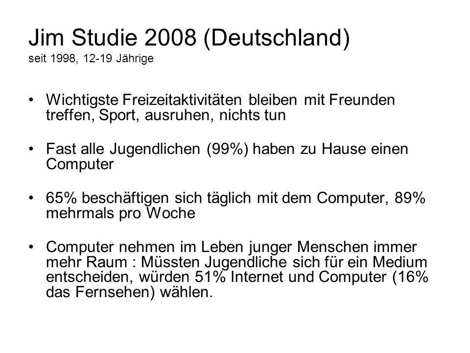 Jim Studie 2008 (Deutschland) seit 1998, 12-19 Jährige Wichtigste Freizeitaktivitäten bleiben mit Freunden treffen, Sport, ausruhen, nichts tun Fast a