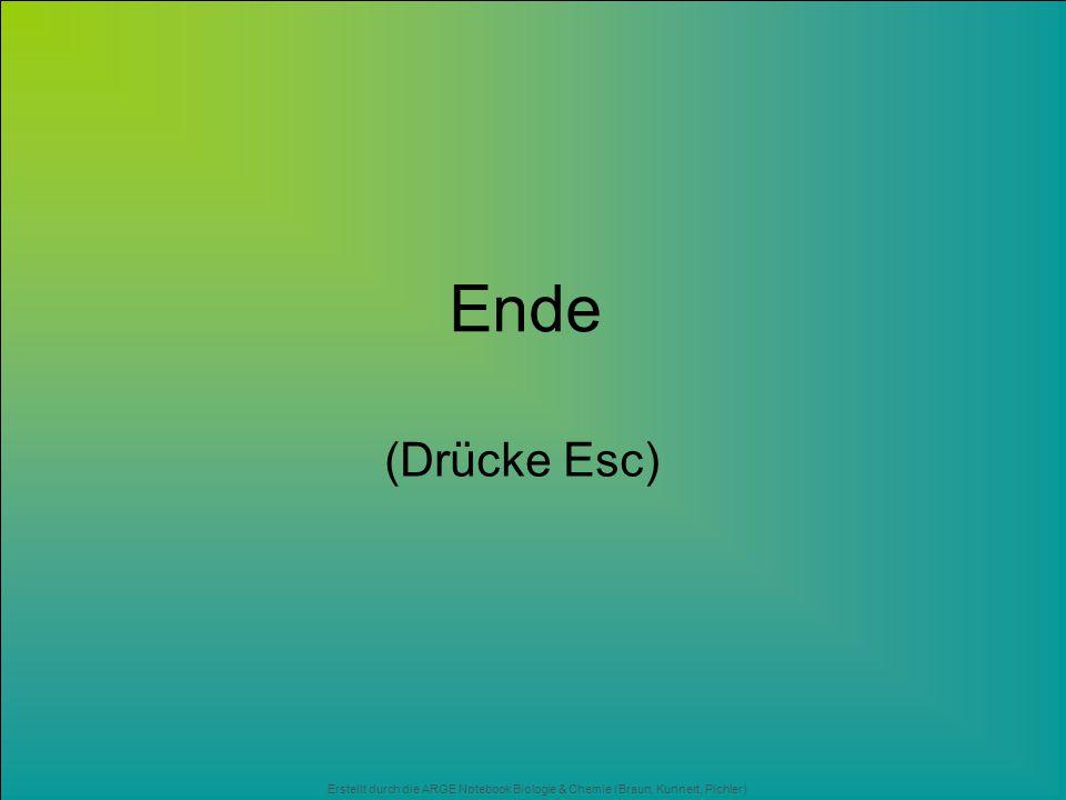 Erstellt durch die ARGE Notebook Biologie & Chemie (Braun, Kunnert, Pichler) Ende (Drücke Esc)