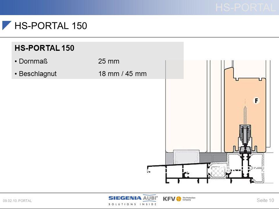 HS-PORTAL Seite 10 09.02.10. PORTAL Hebe-Schiebe (HS) Parallel-Schiebe-Kipp (PSK/PSK-Z) Schiebe (PD, CS) HS-PORTAL 150 Dornmaß25 mm Beschlagnut 18 mm