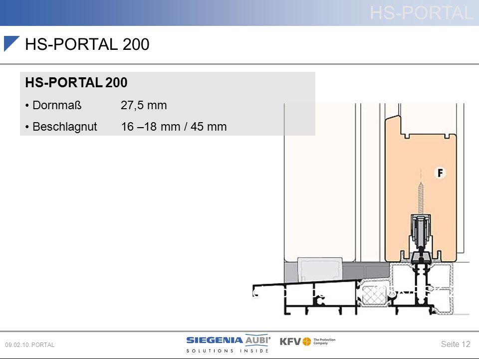 HS-PORTAL Seite 12 09.02.10. PORTAL Parallel-Schiebe-Kipp (PSK/PSK-Z) Schiebe (PD, CS) HS-PORTAL 200 Dornmaß 27,5 mm Beschlagnut 16 –18 mm / 45 mm