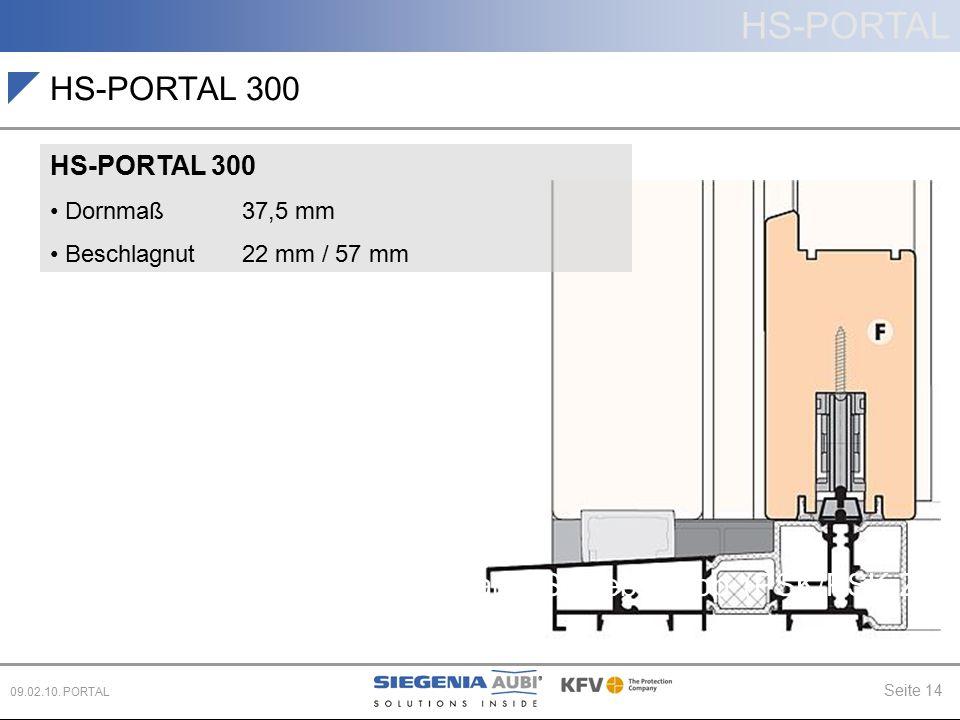 HS-PORTAL Seite 14 09.02.10. PORTAL Hebe-Schiebe (HS) Parallel-Schiebe-Kipp (PSK/PSK-Z) Schiebe (PD, CS) HS-PORTAL 300 Dornmaß 37,5 mm Beschlagnut 22