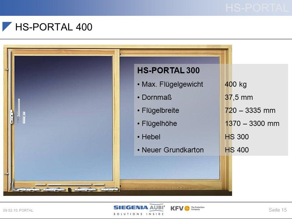 HS-PORTAL Seite 15 09.02.10. PORTAL HS-PORTAL 400 HS-PORTAL 300 Max. Flügelgewicht 400 kg Dornmaß 37,5 mm Flügelbreite720 – 3335 mm Flügelhöhe 1370 –