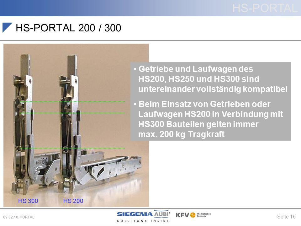 HS-PORTAL Seite 16 09.02.10. PORTAL HS-PORTAL 200 / 300 + 20° C Getriebe und Laufwagen des HS200, HS250 und HS300 sind untereinander vollständig kompa