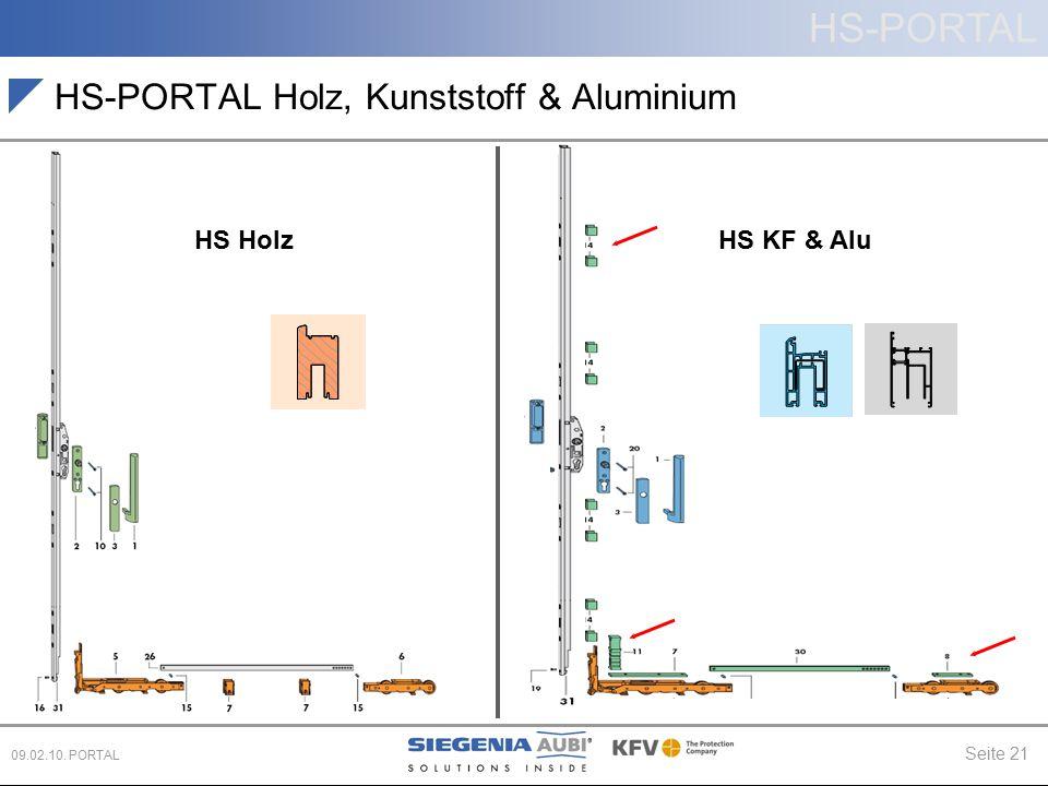 HS-PORTAL Seite 21 09.02.10. PORTAL HS Holz HS-PORTAL Holz, Kunststoff & Aluminium HS KF & Alu