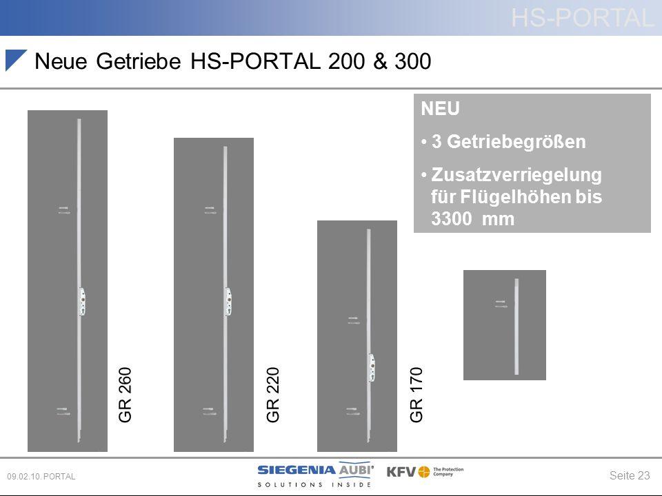 HS-PORTAL Seite 23 09.02.10. PORTAL Neue Getriebe HS-PORTAL 200 & 300 NEU 3 Getriebegrößen Zusatzverriegelung für Flügelhöhen bis 3300 mm GR 260GR 220