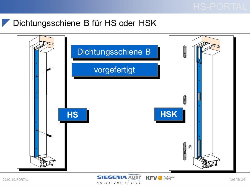 HS-PORTAL Seite 24 09.02.10. PORTAL Dichtungsschiene B für HS oder HSK Dichtungsschiene B vorgefertigt HS HSK