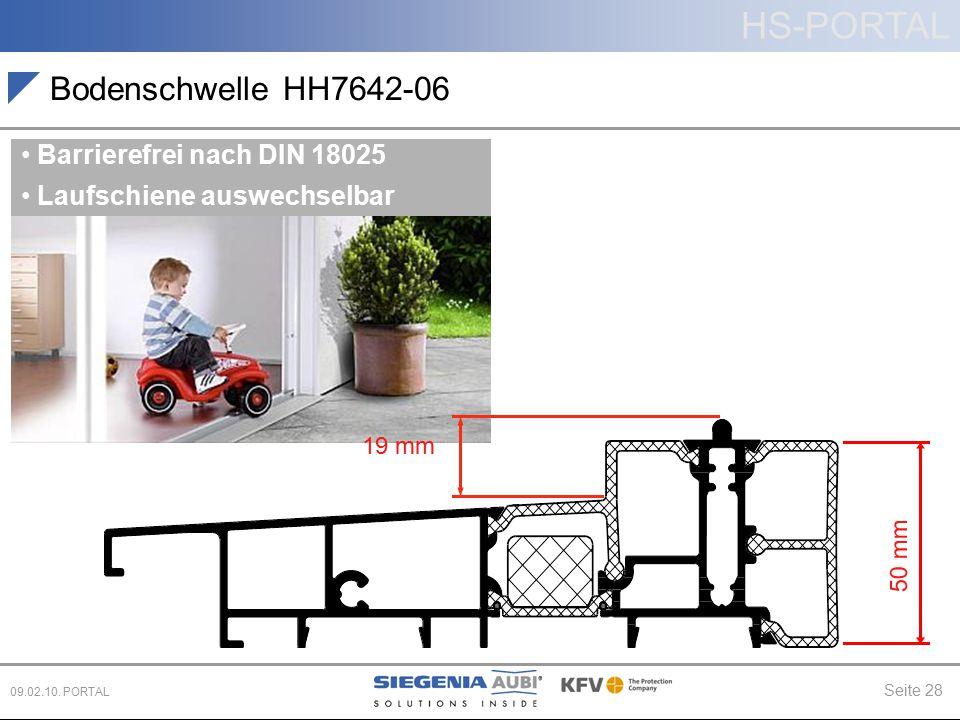 HS-PORTAL Seite 28 09.02.10. PORTAL Bodenschwelle HH7642-06 Barrierefrei nach DIN 18025 Laufschiene auswechselbar 19 mm 50 mm
