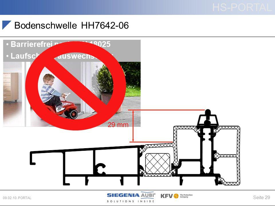 HS-PORTAL Seite 29 09.02.10. PORTAL Bodenschwelle HH7642-06 Barrierefrei nach DIN 18025 Laufschiene auswechselbar 29 mm