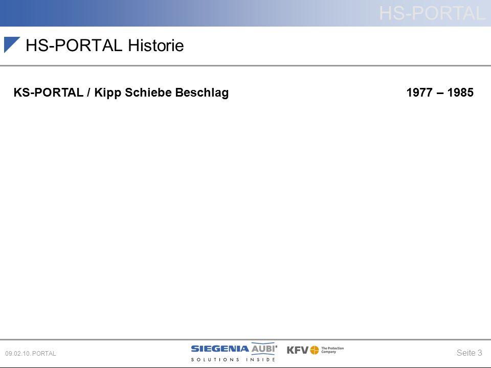 HS-PORTAL Seite 3 09.02.10. PORTAL HS-PORTAL Historie KS-PORTAL / Kipp Schiebe Beschlag 1977 – 1985