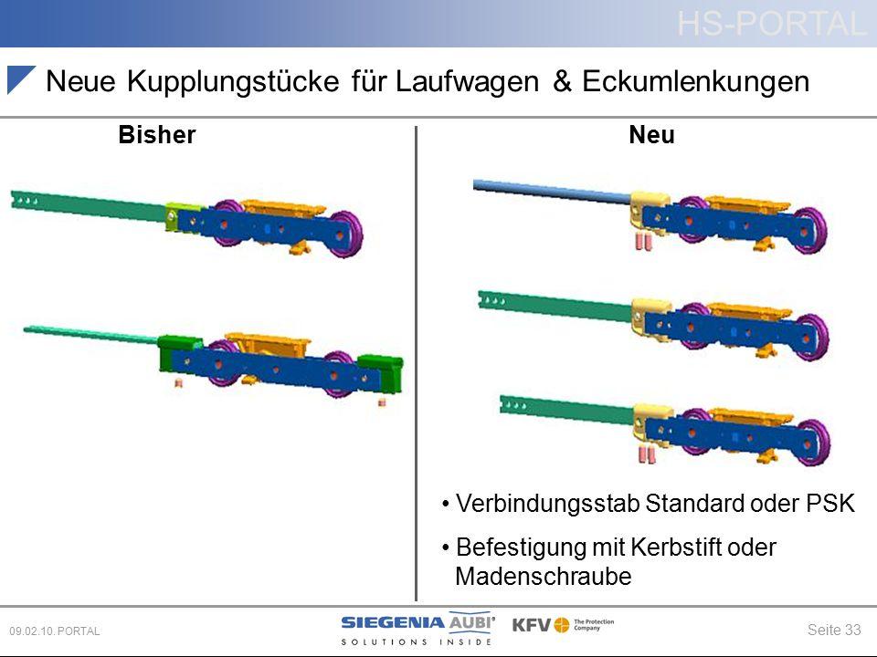 HS-PORTAL Seite 33 09.02.10. PORTAL Neue Kupplungstücke für Laufwagen & Eckumlenkungen BisherNeu Verbindungsstab Standard oder PSK Befestigung mit Ker