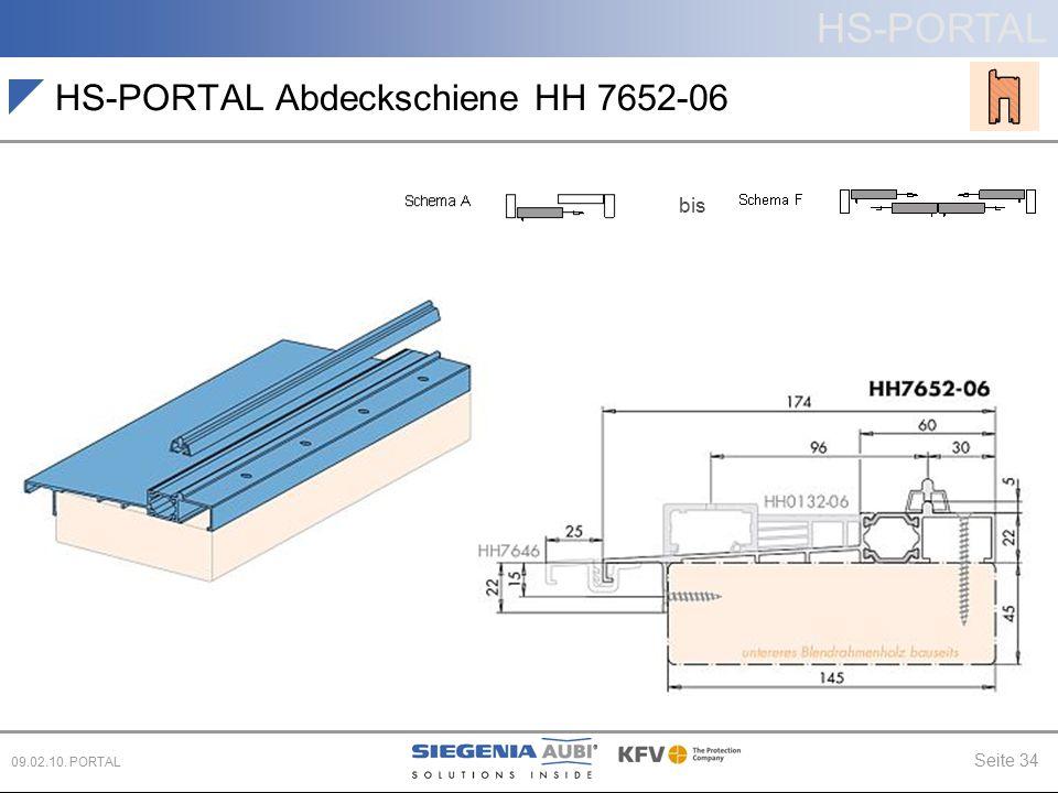 HS-PORTAL Seite 34 09.02.10. PORTAL HS-PORTAL Abdeckschiene HH 7652-06 bis