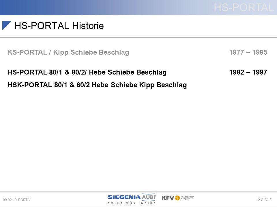 HS-PORTAL Seite 4 09.02.10. PORTAL HS-PORTAL Historie KS-PORTAL / Kipp Schiebe Beschlag 1977 – 1985 HS-PORTAL 80/1 & 80/2/ Hebe Schiebe Beschlag 1982