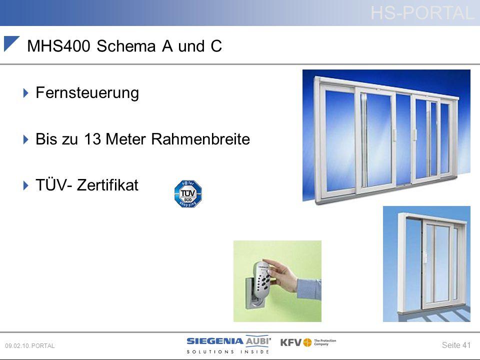 HS-PORTAL Seite 41 09.02.10. PORTAL MHS400 Schema A und C  Fernsteuerung  Bis zu 13 Meter Rahmenbreite  TÜV- Zertifikat