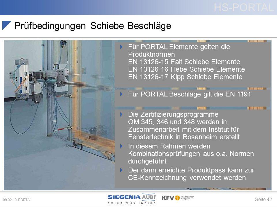 HS-PORTAL Seite 42 09.02.10. PORTAL Prüfbedingungen Schiebe Beschläge  Die Zertifizierungsprogramme QM 345, 346 und 348 werden in Zusammenarbeit mit