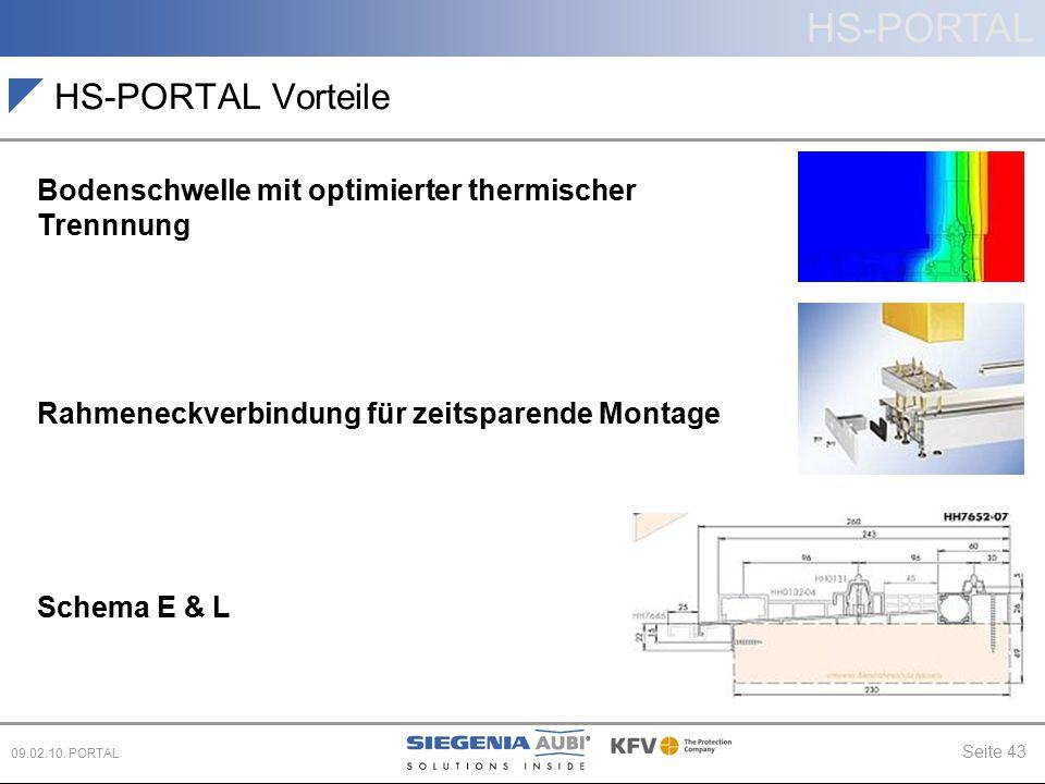 HS-PORTAL Seite 43 09.02.10. PORTAL HS-PORTAL Vorteile Bodenschwelle mit optimierter thermischer Trennnung Rahmeneckverbindung für zeitsparende Montag