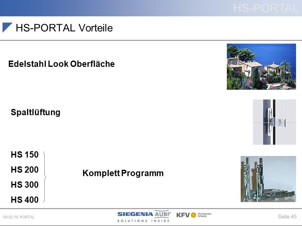 HS-PORTAL Seite 45 09.02.10. PORTAL HS-PORTAL Vorteile Spaltlüftung Edelstahl Look Oberfläche HS 150 HS 200 HS 300 HS 400 Komplett Programm