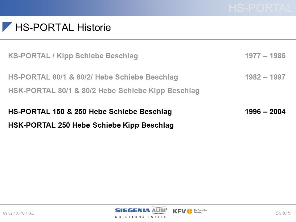 HS-PORTAL Seite 5 09.02.10. PORTAL HS-PORTAL Historie KS-PORTAL / Kipp Schiebe Beschlag 1977 – 1985 HS-PORTAL 80/1 & 80/2/ Hebe Schiebe Beschlag 1982