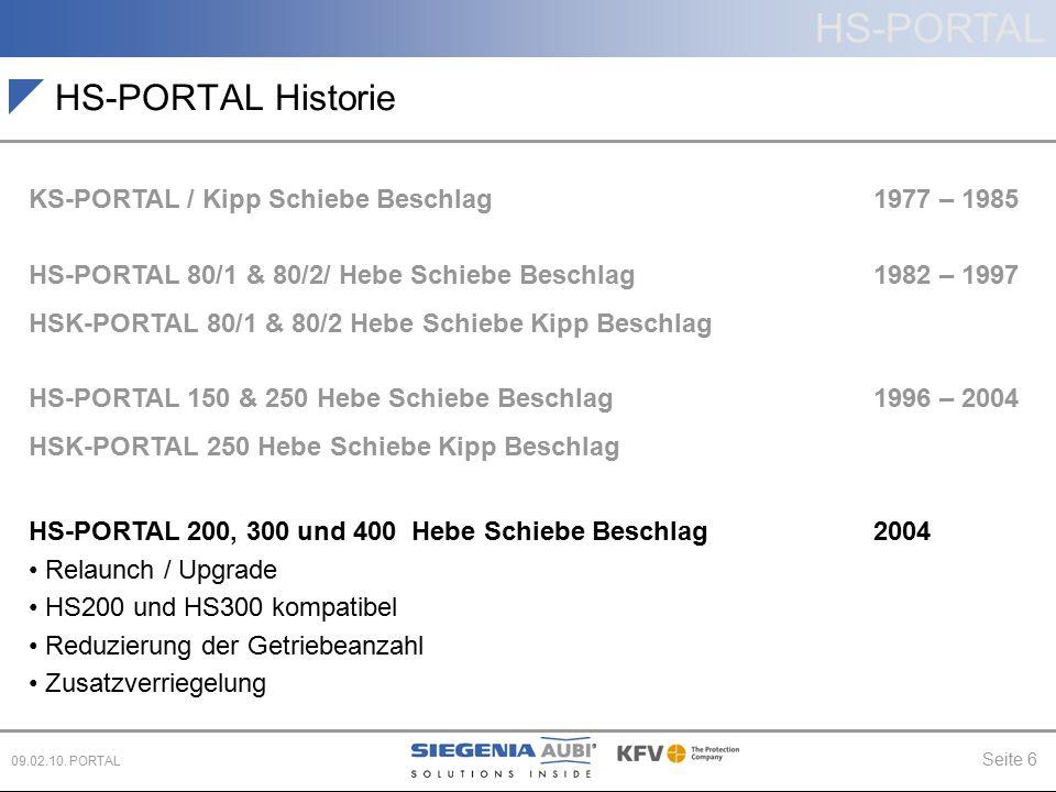 HS-PORTAL Seite 6 09.02.10. PORTAL HS-PORTAL Historie KS-PORTAL / Kipp Schiebe Beschlag 1977 – 1985 HS-PORTAL 80/1 & 80/2/ Hebe Schiebe Beschlag 1982