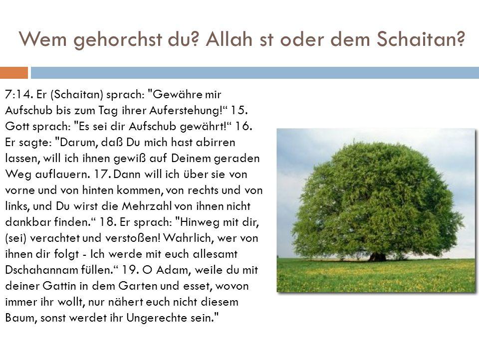 Wem gehorchst du? Allah st oder dem Schaitan? 7:14. Er (Schaitan) sprach: