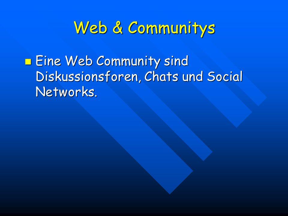 Eine Web Community sind Diskussionsforen, Chats und Social Networks.