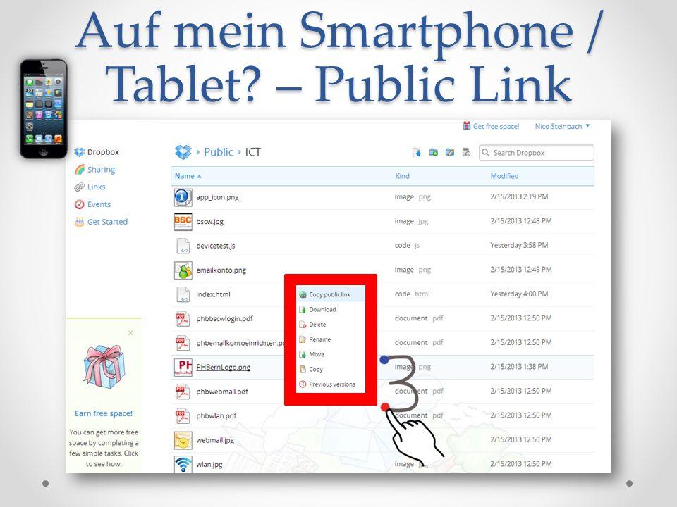 Auf mein Smartphone / Tablet – Public Link