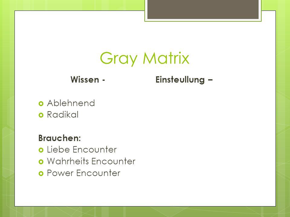 Gray Matrix Wissen - Einsteullung –  Ablehnend  Radikal Brauchen:  Liebe Encounter  Wahrheits Encounter  Power Encounter
