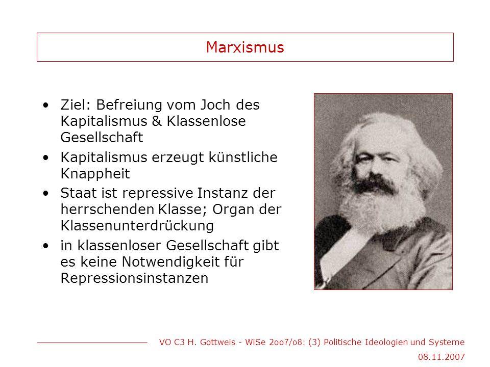 VO C3 H. Gottweis - WiSe 2oo 7 /o 8 : (3) Politische Ideologien und Systeme 08.11.2007 Marxismus Ziel: Befreiung vom Joch des Kapitalismus & Klassenlo