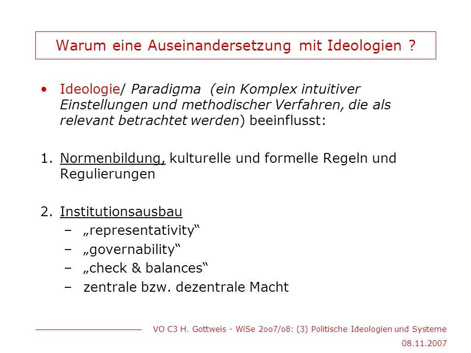 VO C3 H. Gottweis - WiSe 2oo 7 /o 8 : (3) Politische Ideologien und Systeme 08.11.2007 Warum eine Auseinandersetzung mit Ideologien ? Ideologie/ Parad