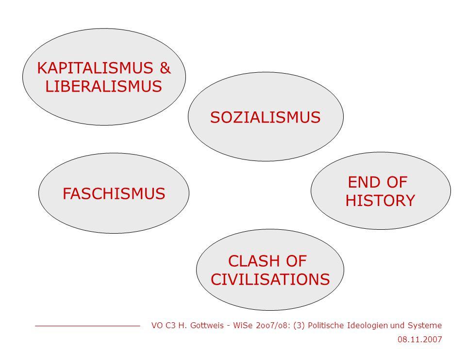 VO C3 H. Gottweis - WiSe 2oo 7 /o 8 : (3) Politische Ideologien und Systeme 08.11.2007 KAPITALISMUS & LIBERALISMUS FASCHISMUS SOZIALISMUS CLASH OF CIV