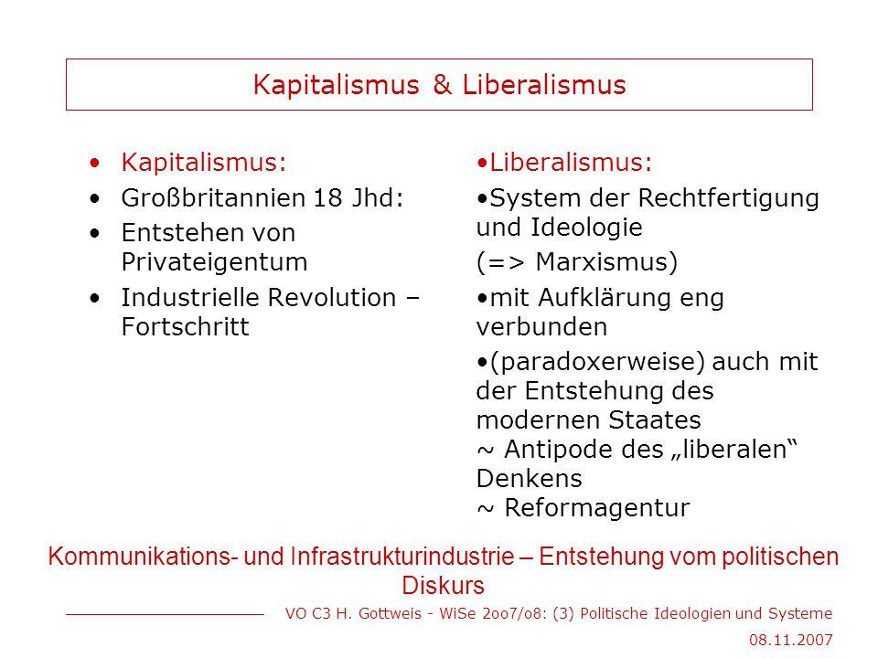 VO C3 H. Gottweis - WiSe 2oo 7 /o 8 : (3) Politische Ideologien und Systeme 08.11.2007 Kapitalismus & Liberalismus Kapitalismus: Großbritannien 18 Jhd
