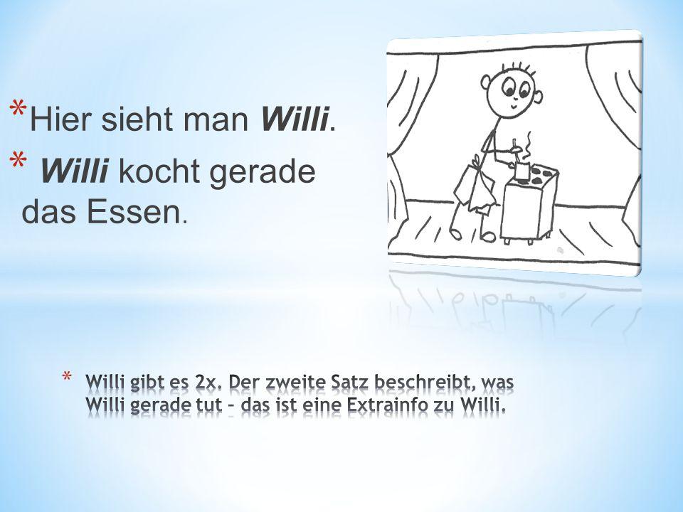 * Hier sieht man Willi. * Willi kocht gerade das Essen.