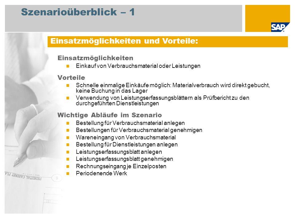Szenarioüberblick – 2 Erforderlich Enhancement package 5 for SAP ERP 6.0 An den Abläufen beteiligte Benutzerrollen Einkäufer Einkaufsleiter Lagermitarbeiter Servicemitarbeiter Kreditorenbuchhalter Erforderliche SAP-Anwendungen:
