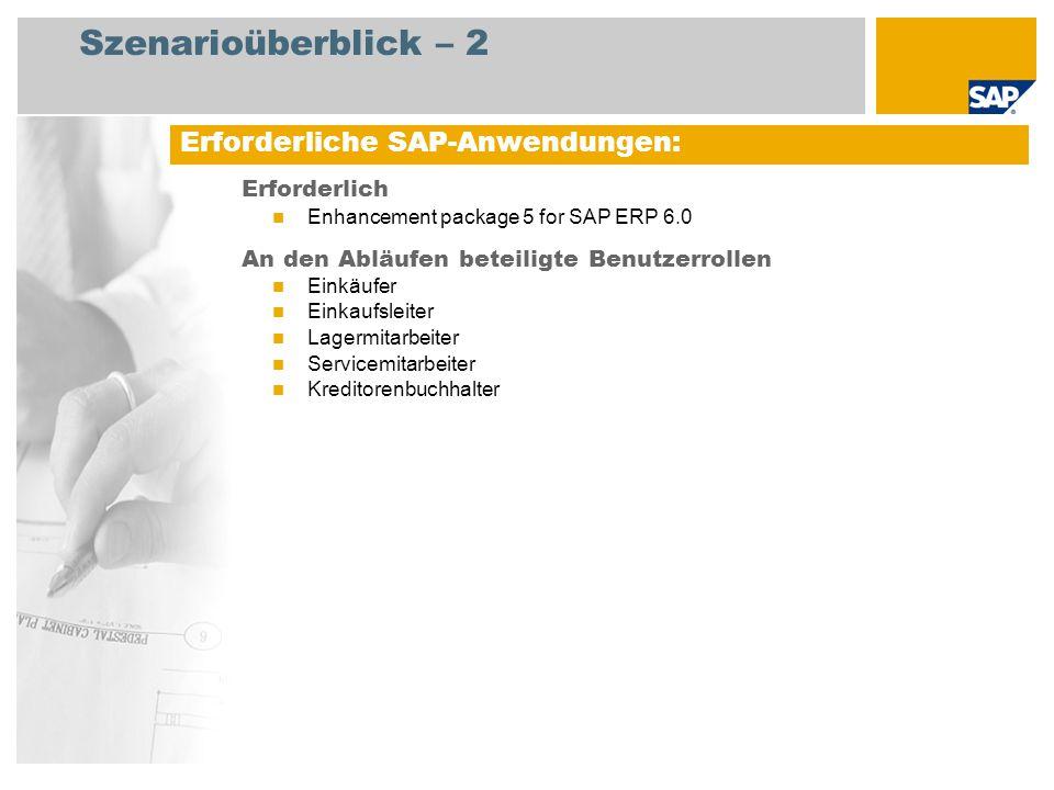 Szenarioüberblick – 2 Erforderlich Enhancement package 5 for SAP ERP 6.0 An den Abläufen beteiligte Benutzerrollen Einkäufer Einkaufsleiter Lagermitar