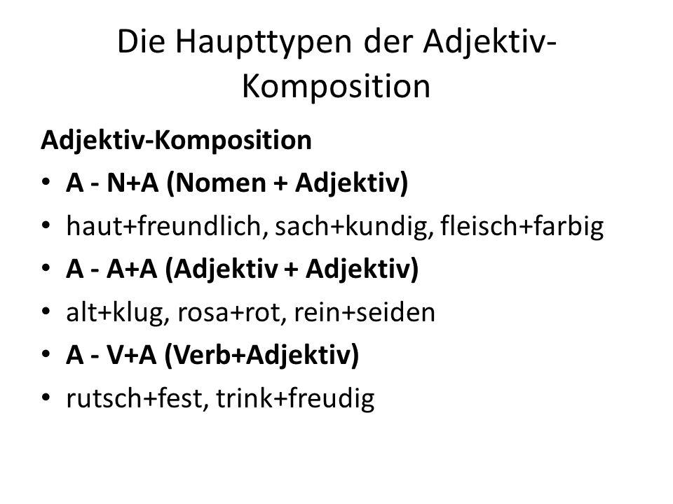 Die Haupttypen der Adjektiv- Komposition Adjektiv-Komposition A - N+A (Nomen + Adjektiv) haut+freundlich, sach+kundig, fleisch+farbig A - A+A (Adjekti