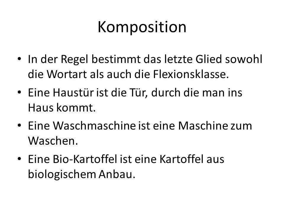 Haupttypen der Nomen-Komposition Nomen-Kompositon N - N+N Holz+haus, Elch+test, Kampf+hund N - A+N Rot+licht, Groß+rechner, Blöd+mann N - V+N Web+stuhl, Misch+ehe, Kann+bestimmung N - P+N Vor+geschmack, Neben+fach, Zwischen+test