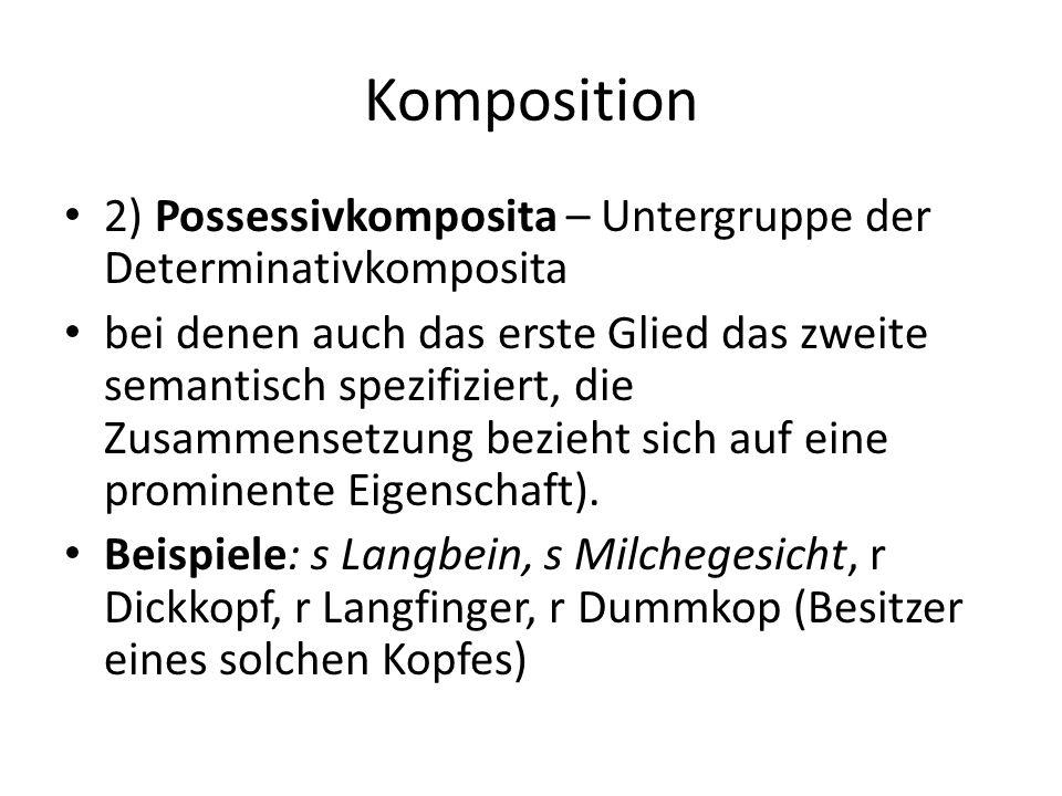 Komposition 3) Kopulativkomposita – bei denen die einzelnen Glieder semantisch gleichberechtigt sind und als Zusammensetzung etwas Neues bezeichnen; Beispiele: Politiker-Komponist, schwarzweiß, Hosenrock, Kleiderschürze, Radiowecker, süß- sauer, Schleswig-Holstein, Strumpfhose