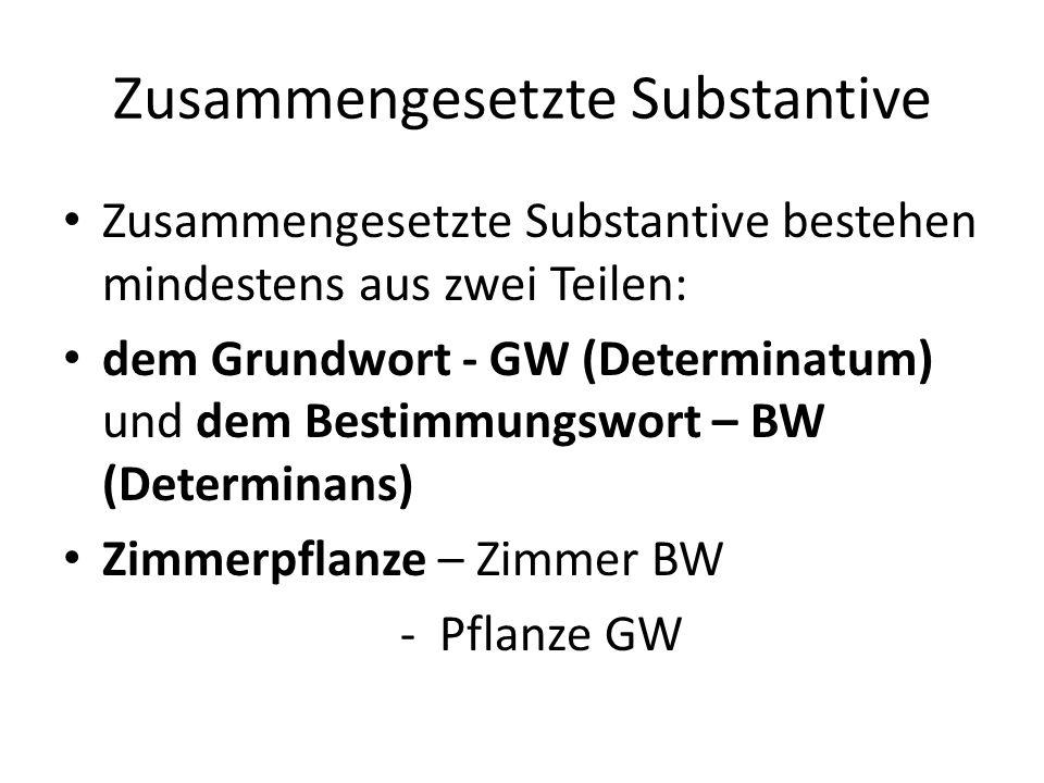 Zusammengesetzte Substantive Zusammengesetzte Substantive bestehen mindestens aus zwei Teilen: dem Grundwort - GW (Determinatum) und dem Bestimmungswo