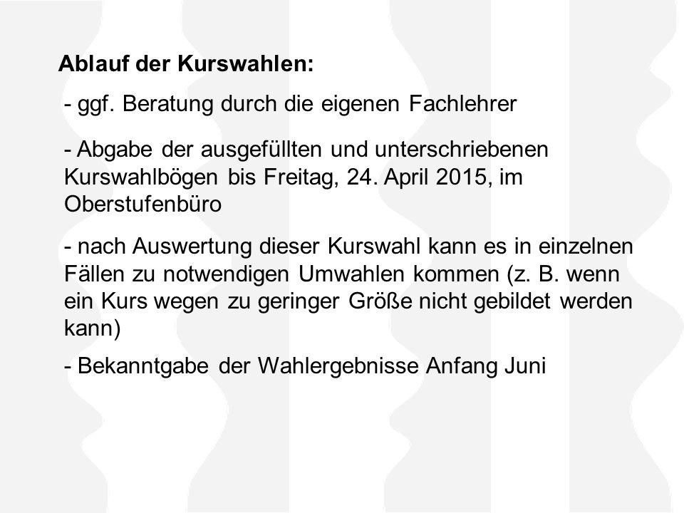 - Abgabe der ausgefüllten und unterschriebenen Kurswahlbögen bis Freitag, 24.