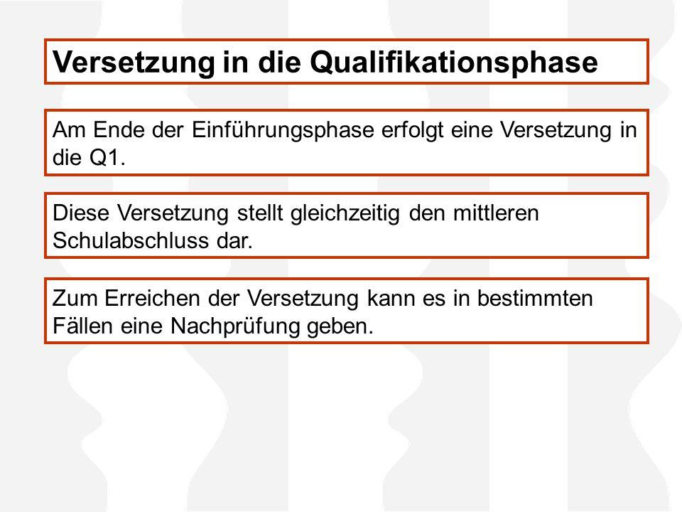 Versetzung in die Qualifikationsphase Am Ende der Einführungsphase erfolgt eine Versetzung in die Q1.