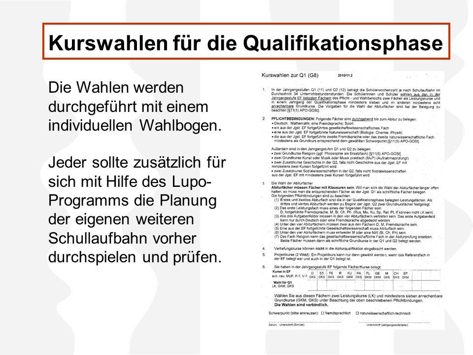 Kurswahlen für die Qualifikationsphase Die Wahlen werden durchgeführt mit einem individuellen Wahlbogen.