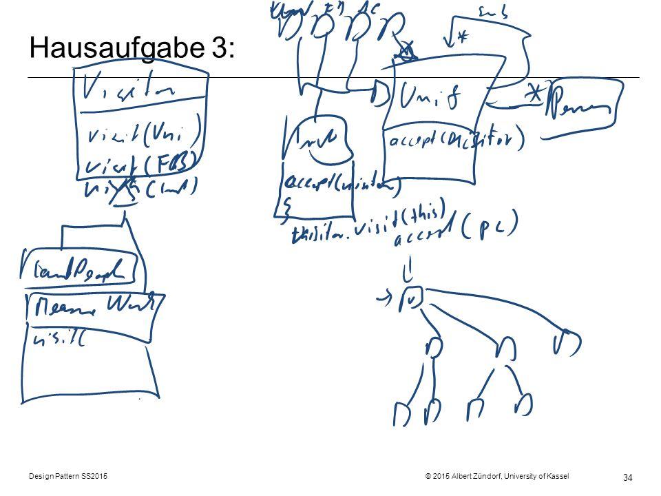 Design Pattern SS2015 © 2015 Albert Zündorf, University of Kassel 34 Hausaufgabe 3: