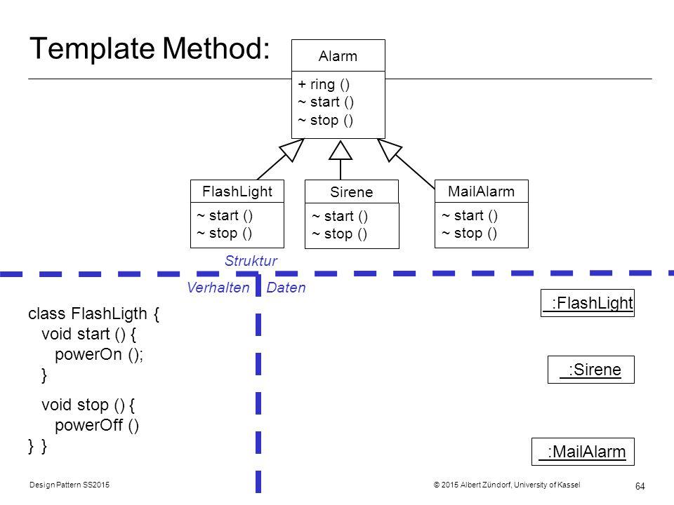 Design Pattern SS2015 © 2015 Albert Zündorf, University of Kassel 64 Template Method: Alarm + ring () ~ start () ~ stop () Struktur Verhalten Daten class FlashLigth { void start () { powerOn (); } void stop () { powerOff () }} :FlashLight :Sirene :MailAlarm MailAlarm ring () Sirene ring () FlashLight ~ start () ~ stop ()